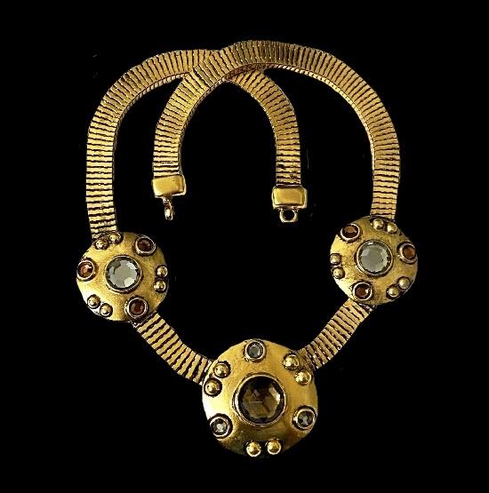 Antique gold tone crystals rhinestones necklace