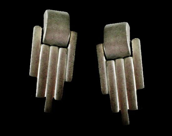 Art Deco large silver tone clips