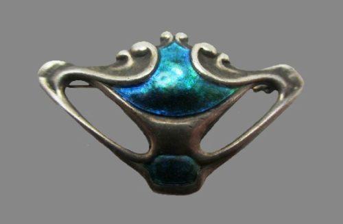 Art Nouveau sterling silver enameled brooch