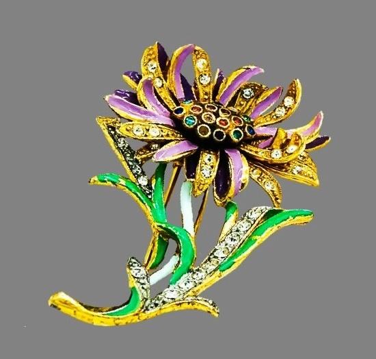 Aster brooch clip. Gold tone metal, rhinestones, crystals, enamel