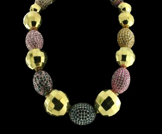 Ball goldtone faceted and pave bead necklace