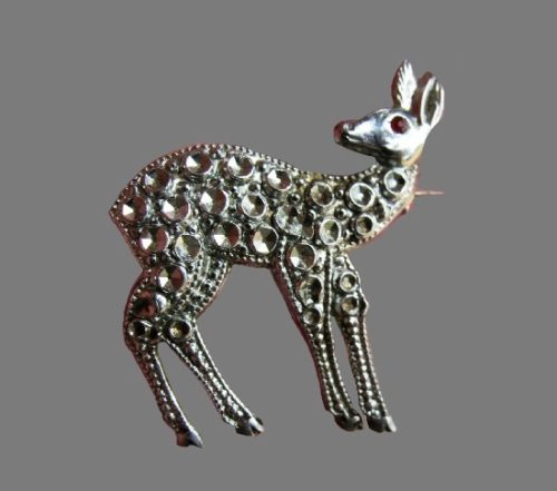 Bamby deer baby brooch. Sterling silver, faux marcasite