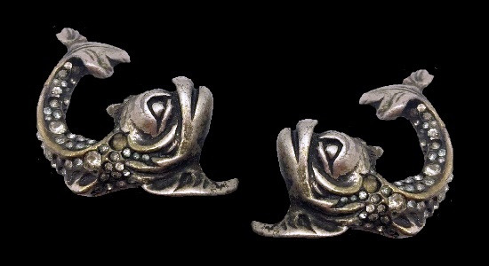 Baroque Italian style Dolphin Earrings of silver tone, rhinestones