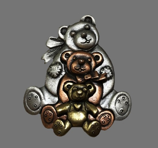 Bear family brooch. Pewter, copper and brass. 1980s