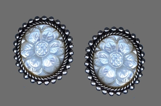 Beautiful floral design sterling silver clip-on earrings, carved mother of pearl