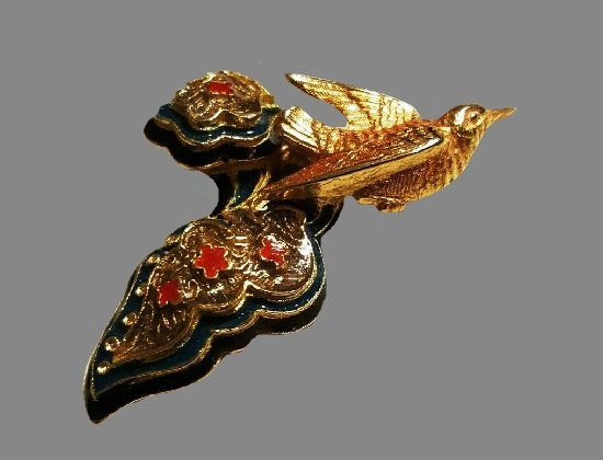 Bird brooch. Gold tone, Red, green and blue enamel