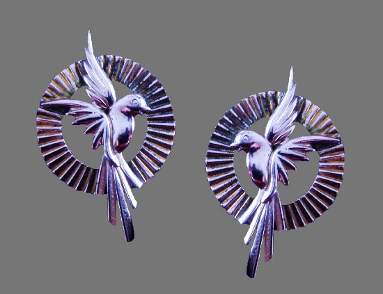 Bird earrings. Sterling silver