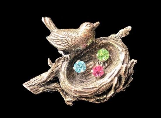 Bird nest sterling silver rhinestones brooch