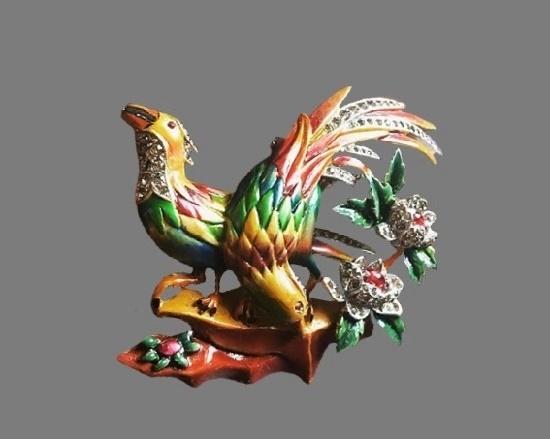 Bird of paradise brooch clip. Gold tone alloy, multicolor enamel, crystals, rhinestones. 1940s