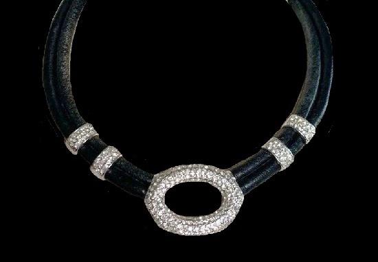 Black Cord Necklace. Silver tone, pave rhinestones
