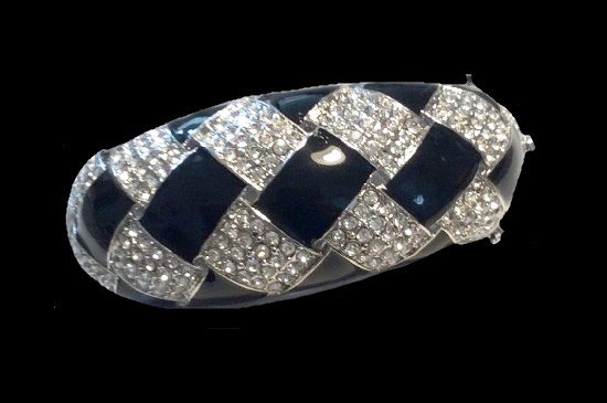 Black Enamel clear crystal bracelet