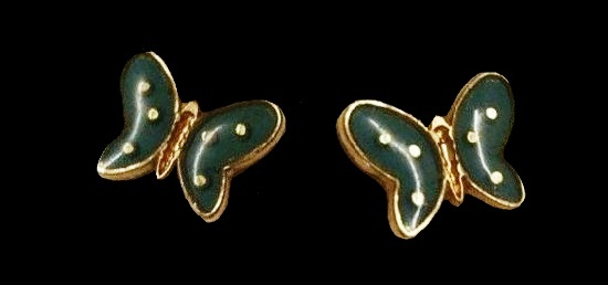 Blue Enamel Butterfly Pierced Earrings 12K Gold Filled
