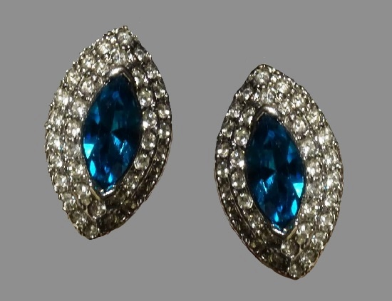 Blue crystal and clear rhinestones oval shaped earrings. 1980s