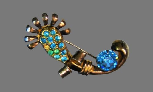Blue rhinestone sterling silver brooch. 1950s
