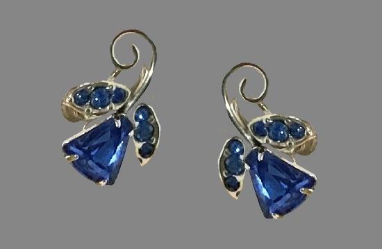 Bluebell flower earrings. Sterling silver, glass cabochons, rhinestones