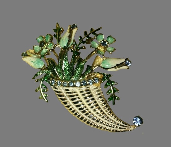 Bouquet of flowers in a vase brooch. Gold tone, enamel, rhinestones. 1960s