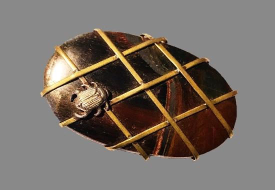 Brass wrapped scarab metallic tiger iron pin. 1992