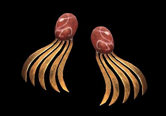 Bronze tone modernist design clip on earrings