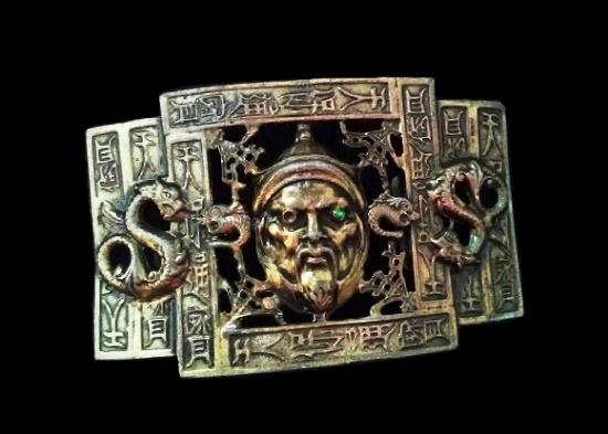 Buddhist motif Asian dragon silver tone metal belt buckle