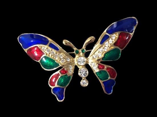 Butterfly Brooch. Gold tone metal, Enamel, rhinestones