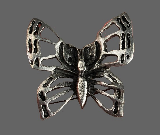 Butterfly brooch pin. Pewter. 1975