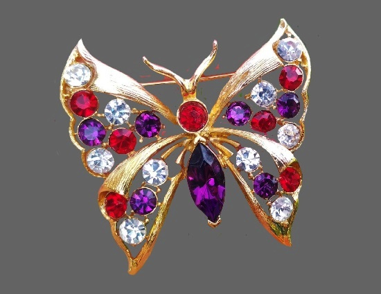 Butterfly brooch. Gold tone, crystals. 4.5 cm, 1990s