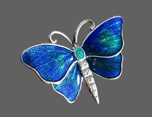 Butterfly brooch. Sterling silver, blue enamel