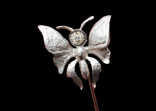 Butterfly stick pin. Sterling silver, 1960s