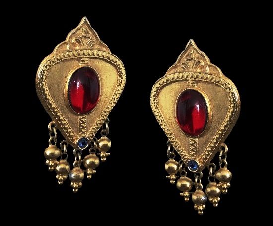 Byzantine Roman Clip On Earrings. Metal base gold plated, rhinestones, glass cabochons