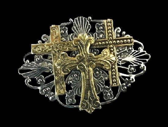 Calvary three crosses pin brooch. Filigree gold and silver tone metal. 1997