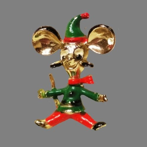 Cartoon character mouse brooch. Gold tone Jewelry alloy, enamel. 3.4 cm. 1980s