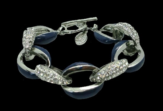 Chain link bracelet. Silver tone, rhinestones