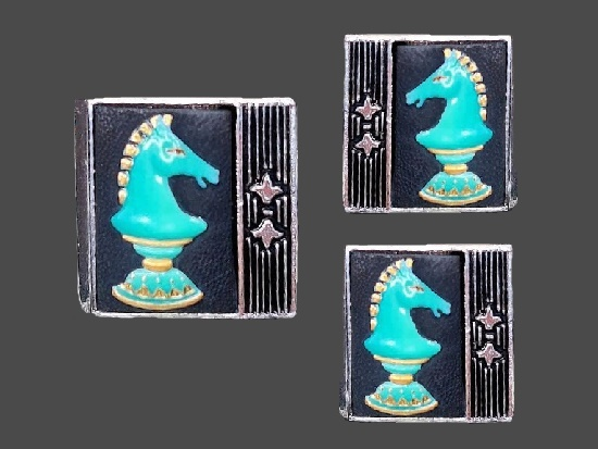 Chess Horse Cufflinks and Tie Clip. Sterling silver, porcelain. 1950s