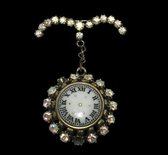 Clock face dangling brooch. Aurora borealis rhinestones, gold tone metal