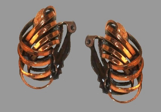 Copper Coil Clip on Earrings