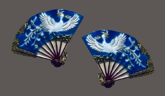 Crane bird handpainted porcelain fan shaped clip on earrings. 1960s