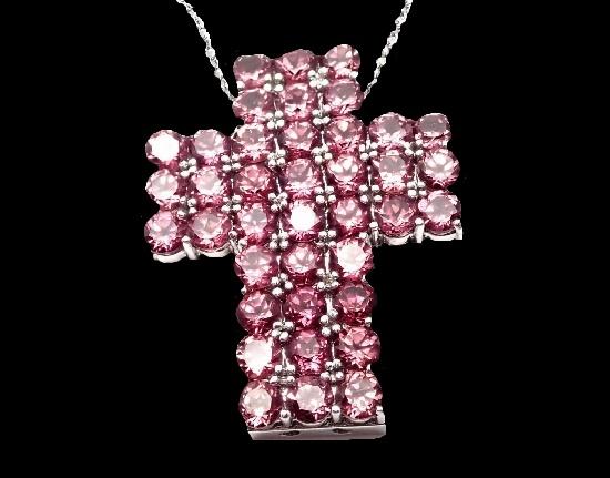 Cross pendant. 18k White Gold Amethyst