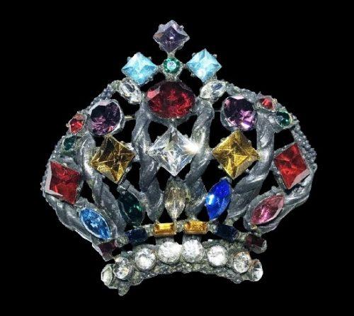 Crown brooch. Multicolor rhinestones, clear crystals, silver tone alloy