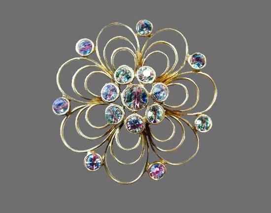 Crystal flower open work brooch. Sterling silver