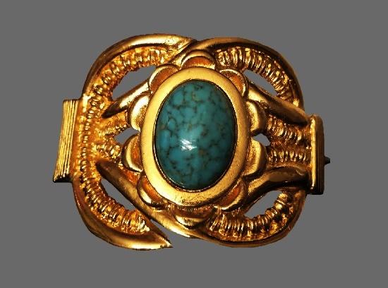 Cuff Bracelet. Gold tone alloy, ceramic insert, plastic, gold plated. 1990s