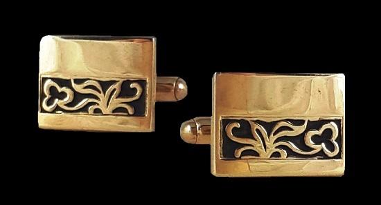 Cufflinks. Gold tone metal, black enamel. 2 cm. 1960s