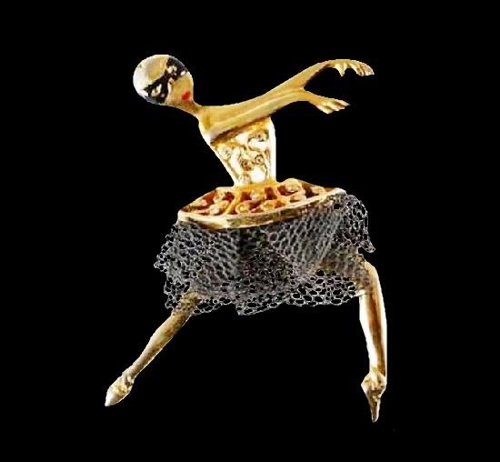 Dancer in a mask brooch. Gold tone metal, silver tone mesh, enamel
