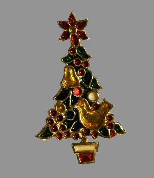 Decorated Christmas tree brooch. Gold tone, enamel