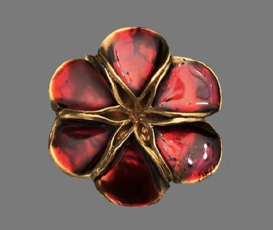 Deep red poured glazed flower pin