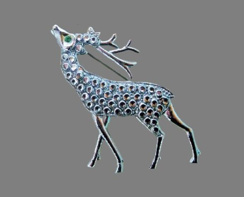 Deer pin. Animal series of brooches of faux marcasite