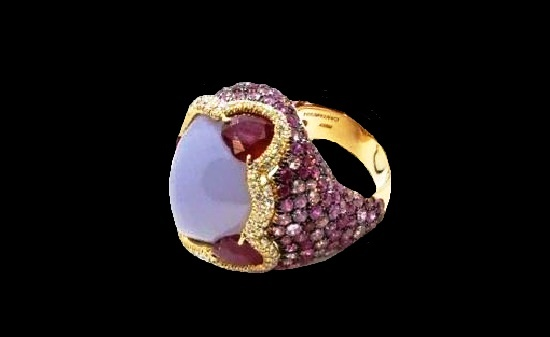 Diamond, Gold, Sapphire, Ruby and chalcedony Cocktail Fashion Ring