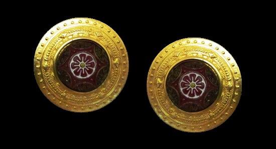 Disc shaped clip on earrings. Gold tone, enamel, art glass