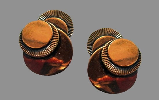 Discs shaped copper clip on earrings
