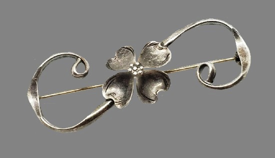 Dogwood Floral Brooch. Sterling silver