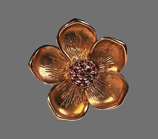 Dogwood Rose ring. Gold Vermeil on Sterling Silver, Orange Sapphire